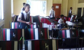 A section of the Bishops' High School Steel Band during rehearsal