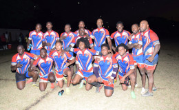 The triumphant Pepsi Hornets pose for a photo in their new outfits following their 38-20 victory last Saturday versus the Yamaha Caribs.