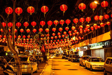 Hanging paper lanterns are among the many decorations used in celebrating Chinese New Year