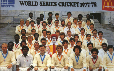 Kerry Packer contract cricketers pose with McDonald's mascot 'Ronald' on the first day of the World Series 1977/78. This was the only photo taken of the entire group for the season.
