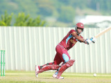 West Indies U19 captain Shimron Hetmeyer gathers runs on the legside during his half century knock yesterday.