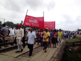 GAWU officials and workers marching yesterday