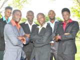 From left Denzel Bagot, Desmon Thompson, Eusi Harlequin, Edwin Moore and OJ Smith, members of Messengers Music Ministries