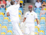GOT 'IM! Barbados Pride fast bowler Miguel Cummins celebrates the wicket of Johnson Charles on the opening day at Kensington Oval. (Photo courtesy WICB Media)