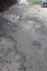 One of the badly deteriorated roads