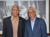 President David Granger (left), today, met with Chancellor of the University of Guyana, Professor Nigel Harris to discuss matters related to the repositioning of the institution such as effective governance, finance and the maintenance of infrastructure, enhancing research capabilities and students' experience. (Ministry of the Presidency photo)