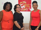 First Lady, Sandra Granger (centre) has accepted the invitation to become patron of the Mother and Daughter Pageant by organisers Ingrid Fung (left) and her daughter, Dr. Sulan Fung, during a courtesy call they paid on her this morning at her State House office, a release from the Ministry of the Presidency said.