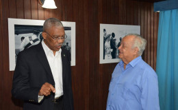 President David Granger (left) and Sir Shridath Ramphal (Ministry of the Presidency photo)