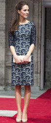 Catherine, the Duchess of Cambridge in a dress by English-Canadian designer Erdem