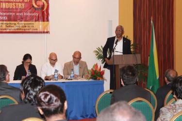President David Granger addressing the GCCI Annual General Meeting