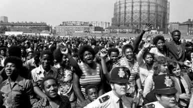 West Indies fans celebrating after their team's victory in front of the pavilion at Kennington Oval in England – July 31, 1973
