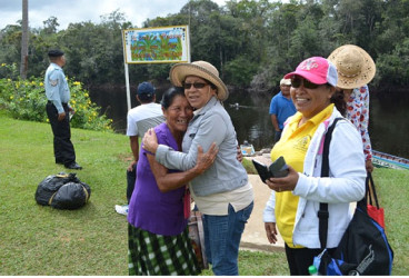 Minister within the Ministry of Indigenous Peoples' Affairs, Valerie Garrido-Lowe (centre) and Minister of in the Ministry of Communities, Dawn Hastings- Williams (right) in Kako, Region Seven (GINA photo)
