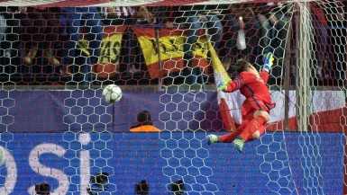 Goalkeeper Marc-André ter Stegen fails to stop Antoine Griezmann scoring the opener for the hosts