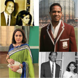 Composite photo of Garry Sobers and Anju Mahendru: Top left and bottom right shows them during their brief engagement; at bottom left is Mahendru as she looks today and at top right is Sobers as he looked in the 60s. (Bollywood Bubble)