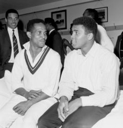 Meeting of the greats: Garry Sobers sits with Muhammad Ali in the dressing room, England v West Indies, Lord's, 1st day, June 16, 1966 (espncricinfo.com)