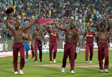 West Indies players celebrating following their capture of the Twenty20 World Cup final against England in Kolkata earlier this month.