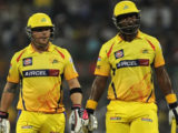 Dwayne Smith (right) and Brendon McCullum, pictured here in their time at Chennai Super Kings, have reunited at the top of the order for new side Gujarat Lions.