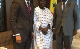 Opposition Leader, Dr Bharrat Jagdeo (left) with former President of Nigeria, Olusegun Obasanjo (centre)  and President of Senegal, Macky Sall