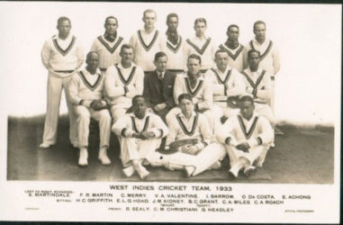 West Indies Cricket Team 1933 – Cyril Christiani is middle in the front row