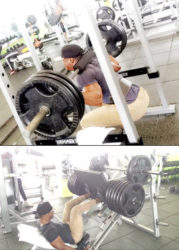 This writer does not skip leg day. He is seen here squatting and leg pressing at the Fitness 53.