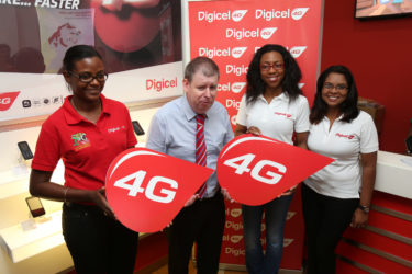 Digicel team: From left: Operations Manager Speed Talk Allison Harewood, CEO Kevin Kelly, Head of Marketing Jacqueline James and Communications Manager Vidya Sanichara