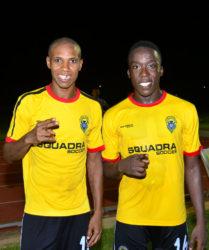Alpha United scorer's Anthony Abrams (left) and Joshua Browne. (Orlando Charles photo) pix saved as Slingerz2