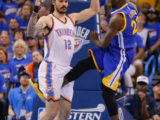 OUCH! Draymond Green of the Golden State warriors made Oklahoma City Thunder Steve Adams see red with the kick to the groin.