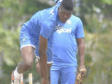 Fast bowler Alzarri Joseph sends down a delivery during the West Indies training session here this week. (Photo courtesy WICB Media)