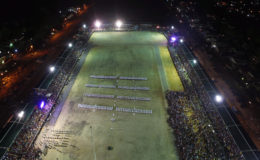 A grand sight: A panoramic shot of the D'Urban Park ceremony on Wednesday night.  Members of the Disciplined Services can be seen in formation.