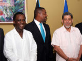 FLASHBACK: Prime Minister Keith Mitchell (left) poses with WICB president Dave Cameron (centre) and St Vincent's PM Dr Ralph Gonsalves, following a meeting of CARICOM's cricket sub-committee and the WICB last year.