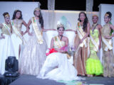 Newly crowned Miss Guyana Universe 2016 Nuriyyih Gerrard flanked by the runners-up and the other contestants.