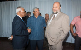 US Ambassador Perry Holloway (right) in conversation with businessman Sattaur Gafoor (left) and GuySuCo's Errol Hanoman.