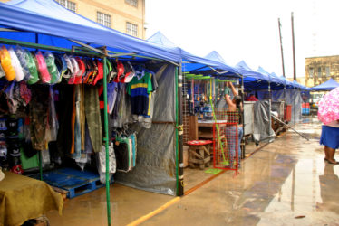 Clothing on display at the makeshift vending site