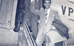 Forbes Burnham and Cheddi Jagan boarding British Guiana Airways Ltd