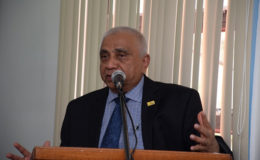Harry Harakh, President of the Caribbean North Charities Foundation Guyana delivering his remarks at the handing over ceremony.  (GINA photo)