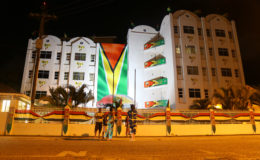 The Guyana Revenue Authority's Headquarters on Camp Street has been brightly lit for the independence celebrations. (Keno George photo)