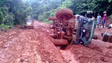 The damage done to Welcome's first truck is seen in this photo which was taken following last Monday's accident on the Matarkai road.