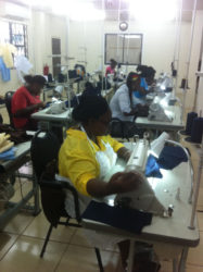 Several of the women in training at the sewing establishment