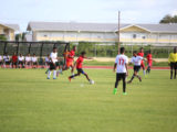 Action between Stewartville Secondary and Zeeburg Secondary at the Leonora Sports Facility in the Digicel Schools Football Championship