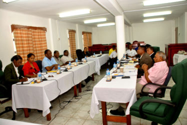 Talks underway: The respective delegations from the Guyana Public Service Union and the Government of Guyana face each other on Wednesday at the start of what could be the country's most important industrial relations encounter since the Armstrong Arbitration Commission.