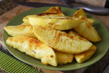 Boiled breadfruit fried on Futura tawah (Photo by Cynthia Nelson)