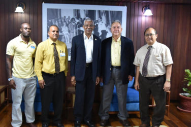 From left are Brinaire Jean; CEO of Food For The Poor (Guyana) Incorporated, Kent Vincent; President David Granger; President and CEO of Food for the Poor's Florida Office,  Robin Mahfood and Chairman of the Board of Food For The Poor (Guyana) Incorporated, Paul Chan-a-Sue. (Ministry of the Presidency photo)