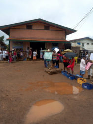 Residents of Port Kaituma in front of the Matarkai Neighbourhood Democratic Council (NDC) last week Tuesday expressing dissatisfaction with the state of the Matarkai Road.