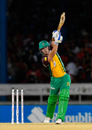 Chris Lynn goes straight during his sensational knock of 77 for Guyana Amazon Warriors at Queen's Park Oval on Saturday night. (Photo courtesy CPL)