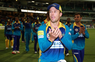 AB de Villiers leads a Barbados Tridents lap of honour following their victory over St Lucia Zouks, in their final home game at Kensington Oval on Sunday night. (Photo courtesy CPL)