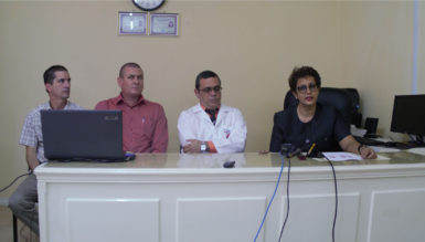Dr Madhu Singh (at right) with the team of doctors during the press conference