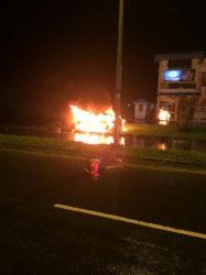 Shameer Mohamed's car in flames.