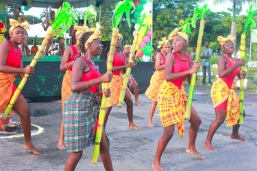 A dance performed as part of a Libation Ceremony at the Square of the Revolution in 2013. (Stabroek News file photo)