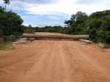 Logs placed across the road at Moblissa to prevent vehicles from accessing the Baishanlin site.