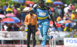 Left-arm seamer Delorn Johnson celebrates another wicket during his three-wicket haul against Jamaica Tallawahs on Saturday. (Photo courtesy CPL)